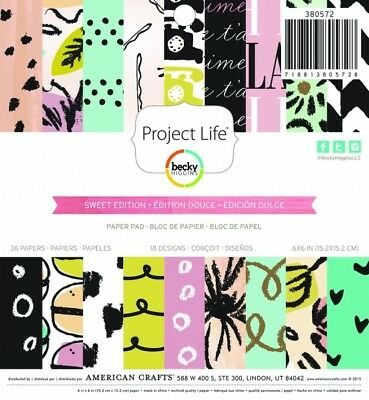 "Becky Higgins Papierblock 6"" x 6"" SWEET EDITION - PATTERNED PAPER PAD    (36 Bla"