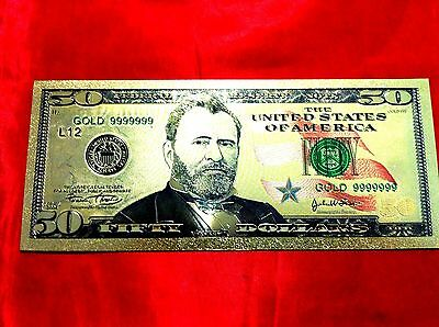 $50 Banknote Usa America Gold Color Coloured Dollar Bill 24Kt Gold  Collectable