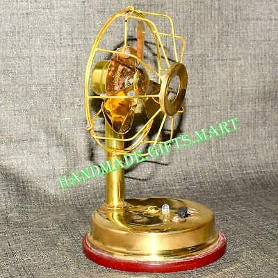 Working Small Vintage Antique Style Brass Table Fan Battery Operated Best Gift.