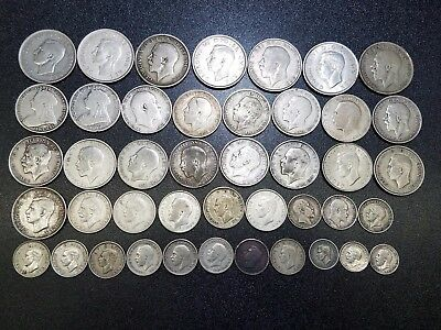 43 UK Britain Half Crown, Shilling, Florin, 3, 6 pence Silver Coin Lot 1896-1946