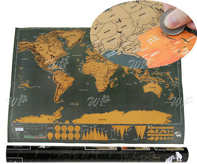 New Scratch Off Personalized World Travel Map Poster Travel Vacation Black