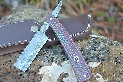 "HUNTEX Handmade Damascus 6.7"" Shaving Cut Throat Razor Pakka Wood French Bladed"