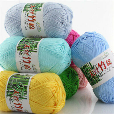 50g Soft Baby Knitting wool Natural Crochet Bamboo Cotton Hand Yarn 55 colors