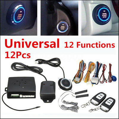 12 Function Car Alarm Start Security System Keyless Entry Push Button Remote Kit