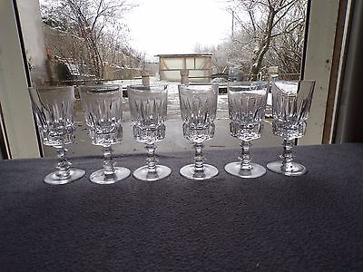 6 glasses wine white in crystal baccarat ? saint louis ? set of 2