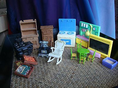 Dolls House Mattel inc stove & metal items, detailed wood and plastic pieces