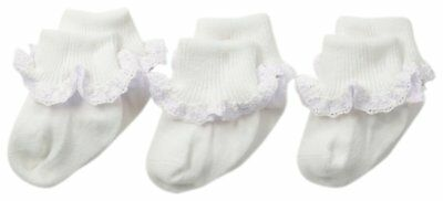 Jefferies Socks Little Girls Cluny and Satin Lace Socks 3 Pair Pack, Toddler