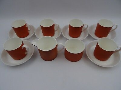 Susie Cooper Pimento C2097 6 Coffee Cups And Saucers Cream And Sugar