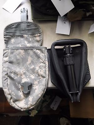 New U.S. Ames Tri-Fold Shovel with Used Digital Cover - Military Surplus