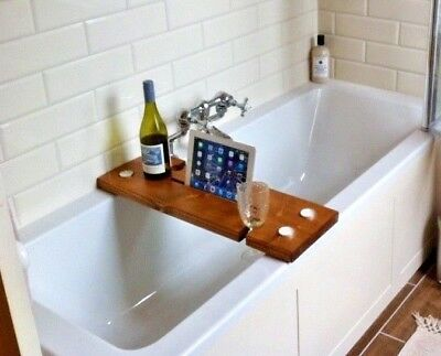 RUSTIC BATH CADDY - Strong Solid Chunky Wood - Smartphone And Tablet ...