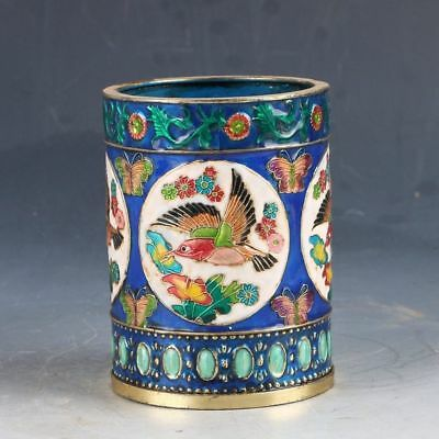 Delicate Chinese Cloisonne Handwork Carved Magpie Pen Holder Zw