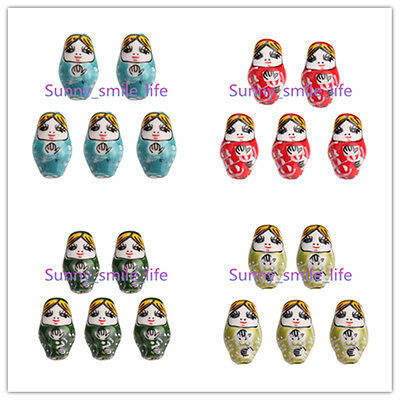 10pcs Hand Painted 22x13mm Porcelain Russian Nesting Doll Beads with 2.2mm Hole