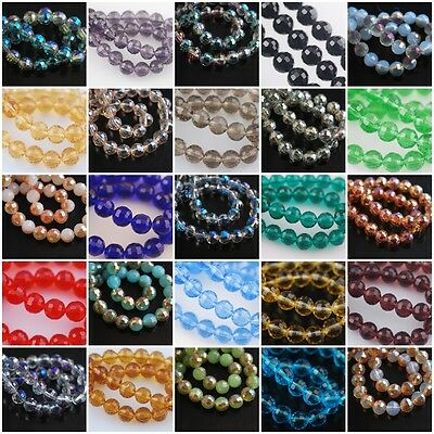 New Round 96Faceted Glass Crystal Spacer Beads Craft Jewelry Finding 8mm Charms