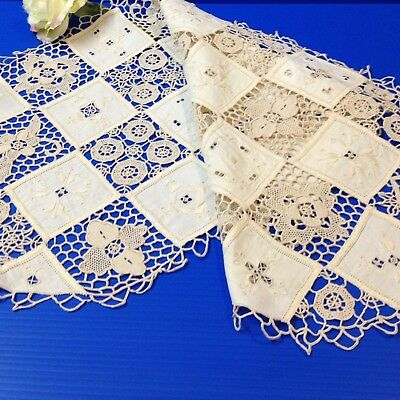 Ecru Bobbin Lace & Shadow Embroidered - Checkerboard Table Runner  82 x 33cm