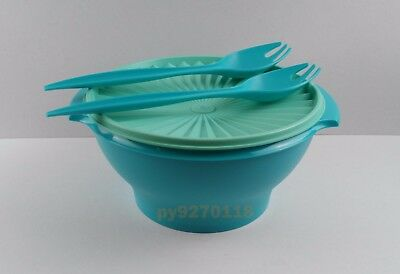 NEW Tupperware Servalier Salad Bowl with 2 Forked Salad Servers + Free Shipping