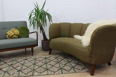 Restored Original Vintage Danish 1940s Early Midcentury Two Seater Banana Sofa