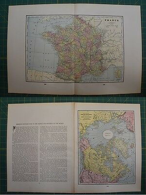 France Polar Regions Vintage Original 1895 Werner Company World Atlas Map Lot