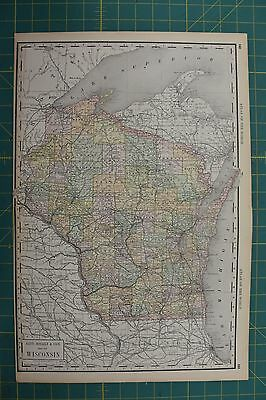 Wisconsin Vintage Original 1892 Rand McNally World Atlas Map Lot