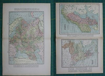 Russia Sweden Norway Vintage Original 1897 Cram's World Atlas Map Lot