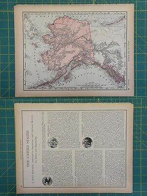 Alaska Vintage Original 1894 Rand McNally World Atlas Map Lot