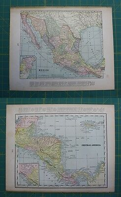 Mexico Central America Vintage Original 1897 Cram's World Atlas Map Lot
