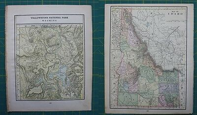 Yellowstone, WY Idaho ID Vintage Original 1897 Cram's World Atlas Map Lot
