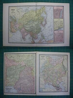 Asia Russia Central Asia Vintage Original 1885 Cram's World Atlas Map Lot
