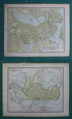 Boston, MA Portland, OR Vintage Original 1897 Cram's World Atlas Map Lot