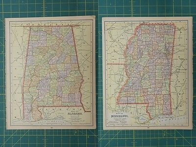 Alabama Mississippi Vintage Original Antique 1892 World Atlas Map Lot