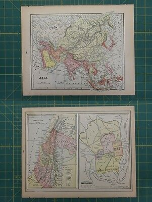 Asia Palestine Jerusalem Vintage Original Antique 1892 World Atlas Map Lot