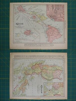 Hawaii Luzon Island Vintage Original 1910 Rand McNally World Atlas Map Lot