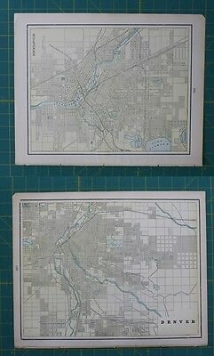 Minneapolis, MN Denver, CO Vintage Original 1897 Cram's World Atlas Map Lot