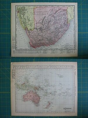 South Africa Oceania Vintage Original 1910 Rand McNally World Atlas Map Lot