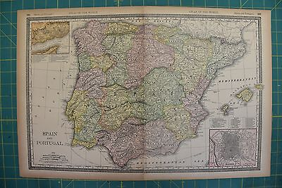 Spain Portugal Vintage Original 1894 Rand McNally World Atlas Map Lot