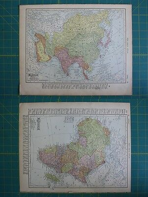 Asia Africa Vintage Original 1910 Rand McNally World Atlas Map Lot