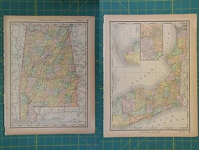 Alabama Florida Vintage Original 1894 Rand McNally World Atlas Map Lot