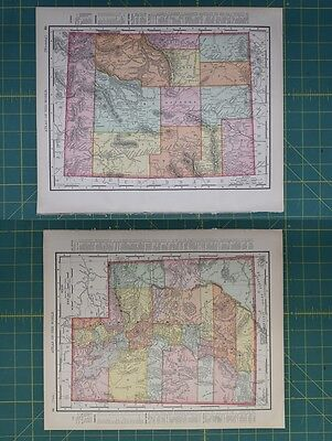 Wyoming Utah Vintage Original 1896 Rand McNally World Atlas Map Lot
