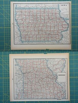 Iowa Missouri Vintage Original 1893 Columbian World Fair Atlas Map Lot