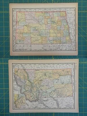 North Dakota Montana Vintage Original 1894 Rand McNally World Atlas Map Lot