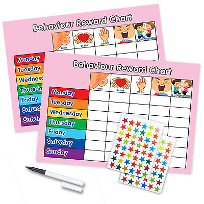 BEHAVIOUR REWARD CHART MAGNETIC AVAILABLE FREE PEN & STAR STICKERS - Twin Pink