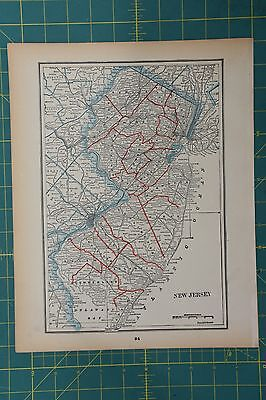 New Jersey Vintage Original 1893 Columbian World Fair Atlas Map Lot