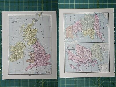 British Isles England Scotland Vintage Original 1895 Crams World Atlas Map Lot