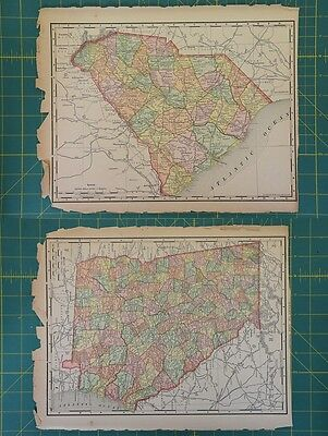South Carolina Georgia Vintage Original 1894 Rand McNally World Atlas Map Lot