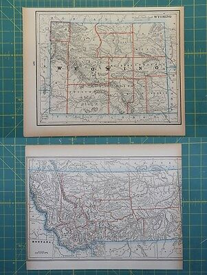Wyoming Montana Vintage Original 1893 Columbian World Fair Atlas Map Lot
