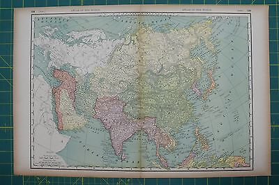 Asia Vintage Original 1894 Rand McNally World Atlas Map Lot