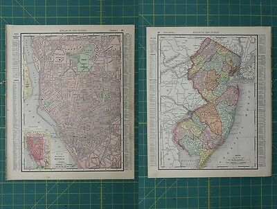 Buffalo NY New Jersey Vintage Original 1896 Rand McNally World Atlas Map Lot