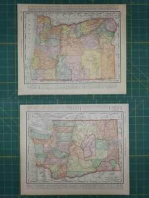 Oregon Washington Vintage Original 1896 Rand McNally World Atlas Map Lot