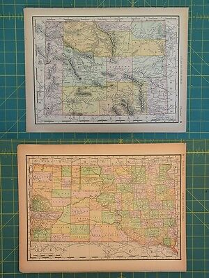 Wyoming South Dakota Vintage Original 1894 Rand McNally World Atlas Map Lot