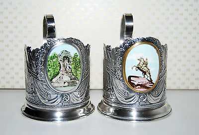 Vintage  Rare Soviet/ Russian 2 Silver Plated Tea Holders with Enamel