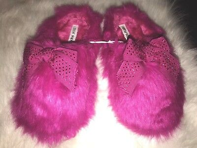 Steve Madden Hot Pink Fuchsia Faux Fur With Bow Slippers Women's Size M 7/8
